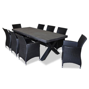 New York Industrial 2.4m DARK GREY Outdoor Poly-Cement Dining Table With 8x Roman Chairs