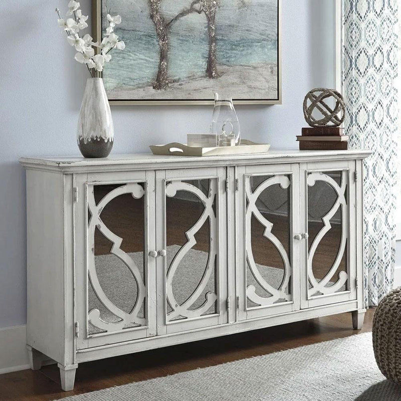 Avery Indoor Timber Sideboard Buffet in Distressed Antique Ivory