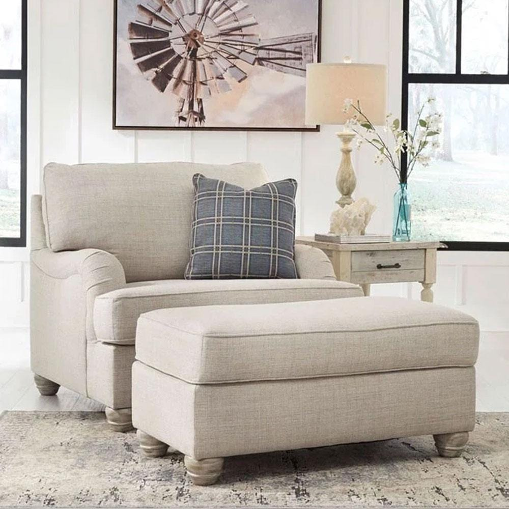 Isabelle 1 Seater Fabric Lounge with Ottoman