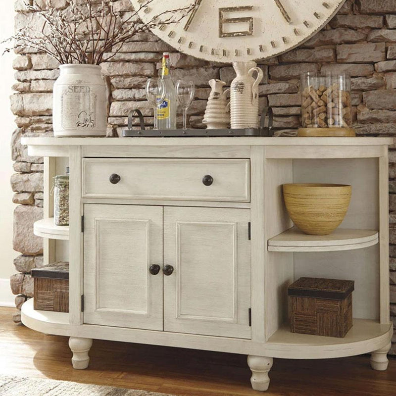 Audrey Dining Room & Kitchen Sideboard Server with Distressed White Finish