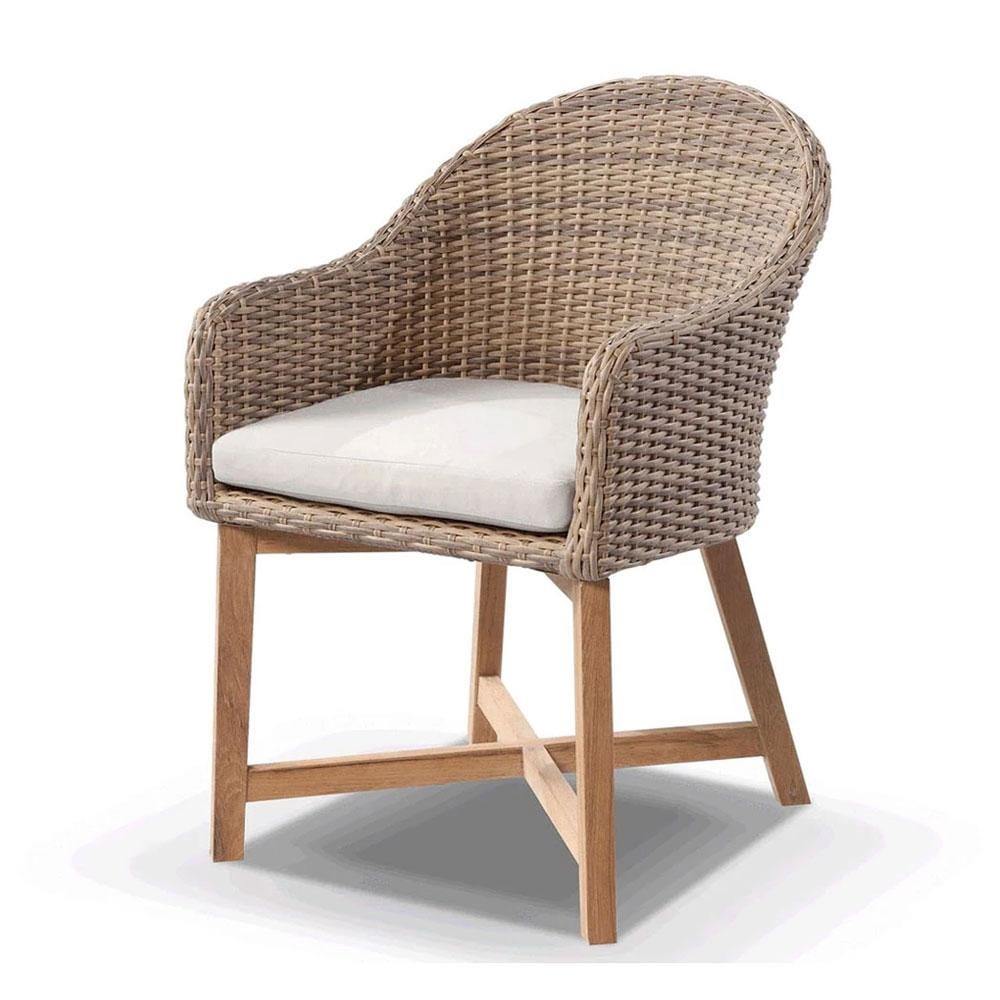 Coastal Wicker Dining Chair with Teak Timber Legs Brushed Wheat