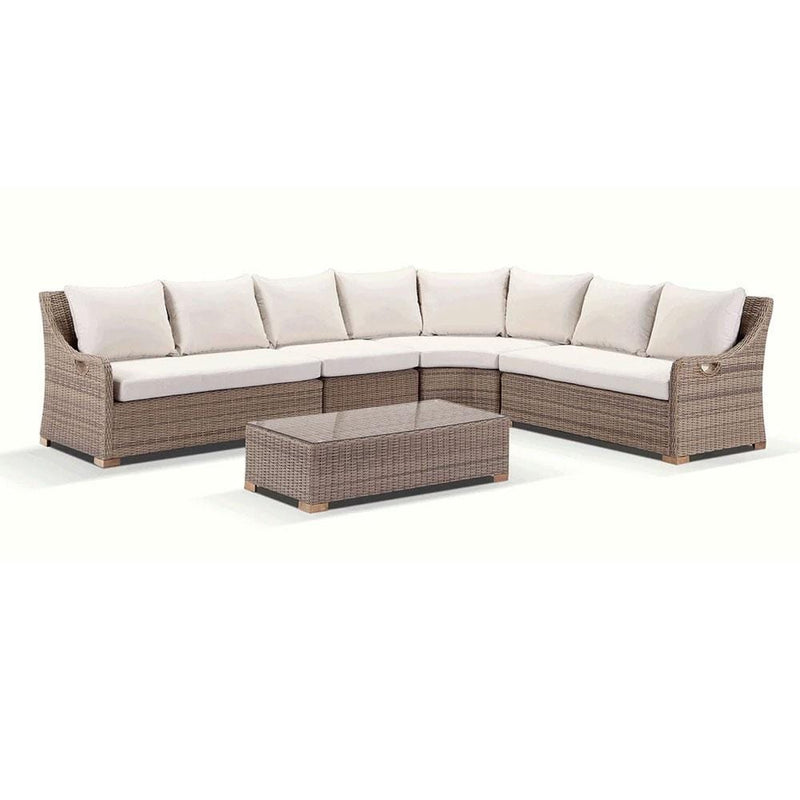 Randwick Package A - Outdoor Rattan Wicker Modular Corner Sofa With Teak Feet