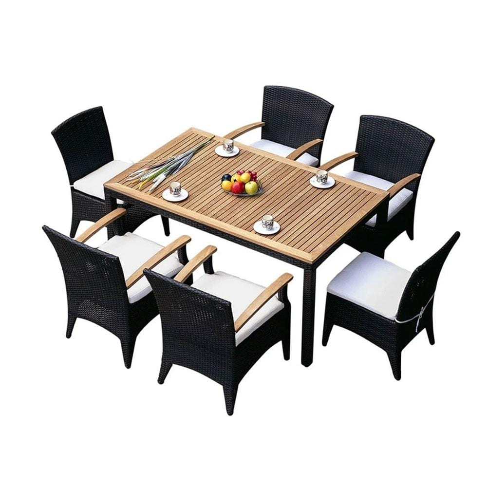 Kai6 - 7pc Raw Natural Teak Table Top Outdoor Dining Set With Wicker Chairs