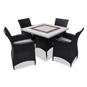 Caesar 4 Rectangle - 5pc Travertine Stone Outdoor Table Setting With Wicker Outdoor Chairs