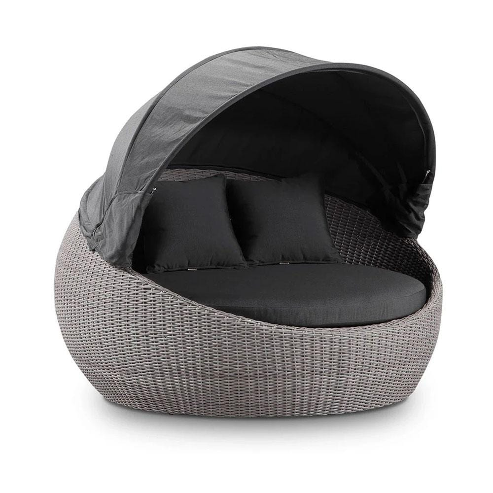 Newport Outdoor Wicker Round Daybed with Canopy - Brushed Grey with Sunbrella