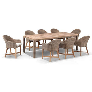 Sahara 8 Rectangle with Coastal Chairs in Half Round wicker