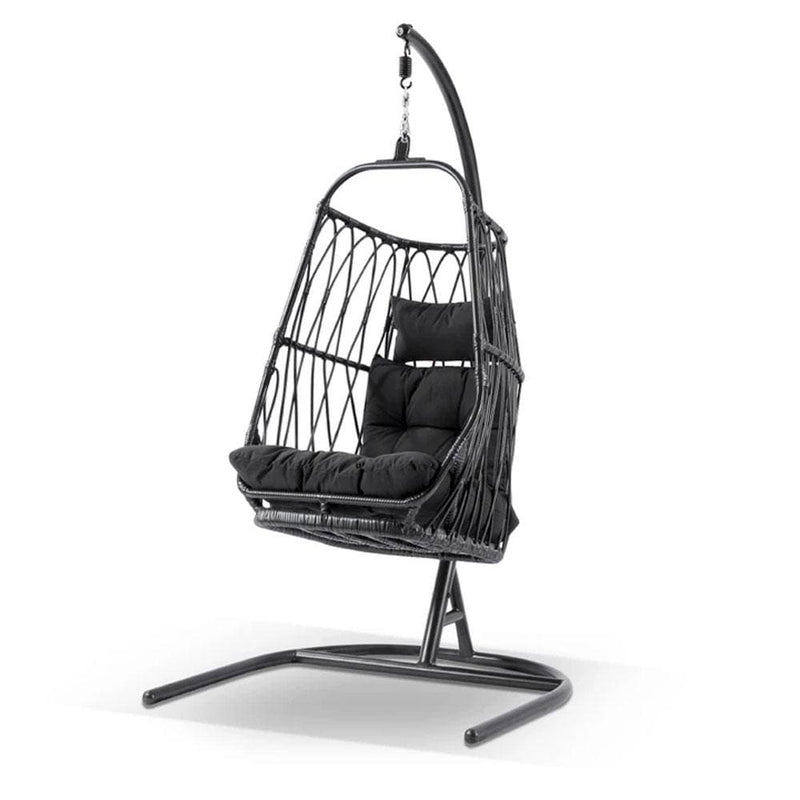 Arlo Hanging Egg Chair with Stand in Black