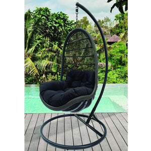 Trojan Outdoor Wicker Hanging Egg Chair with Stand in Black