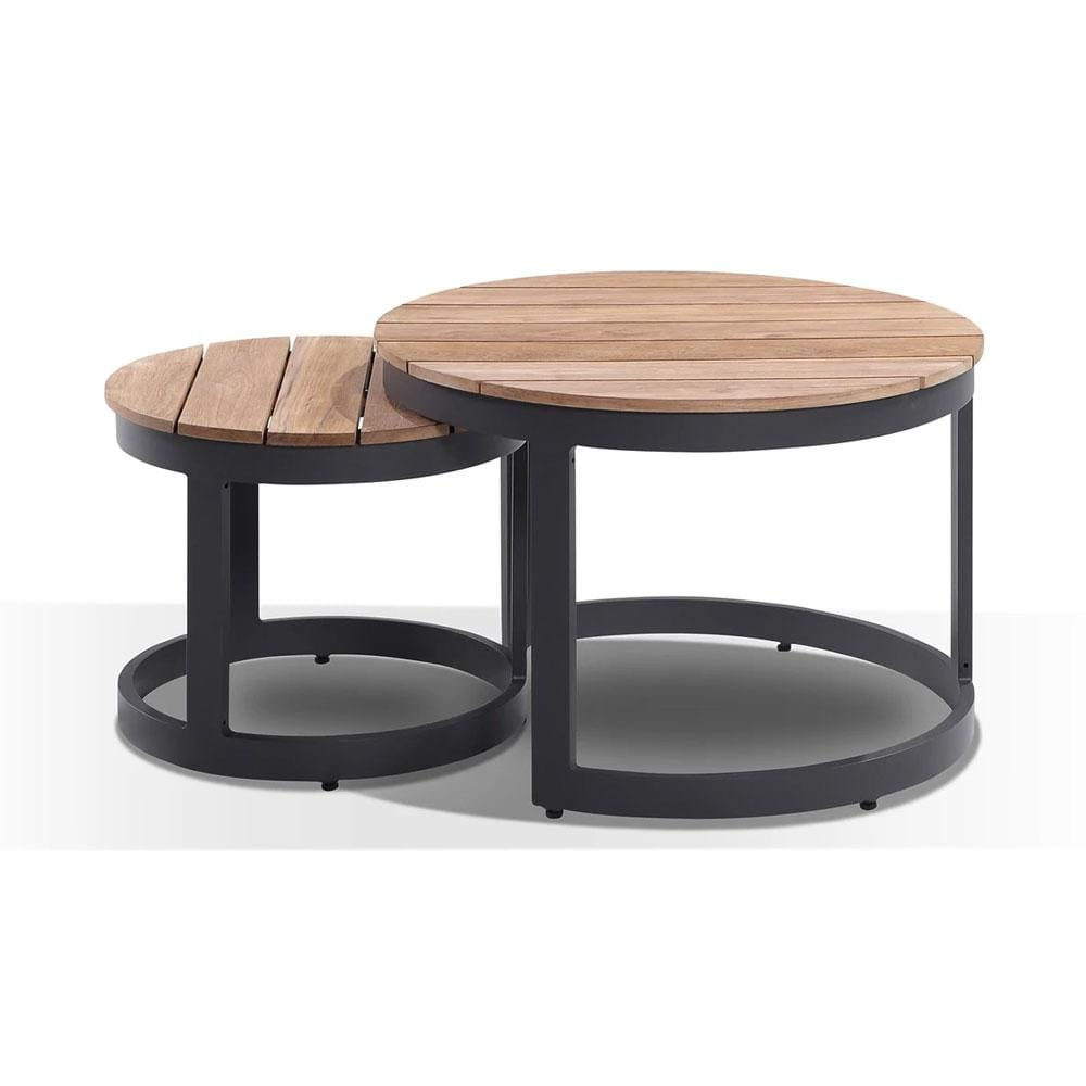 Round Industrial Aluminium Teak Top Coffee Table Set