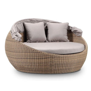 Newport Outdoor Wicker Round Daybed with Canopy - Brushed Wheat with Sunbrella