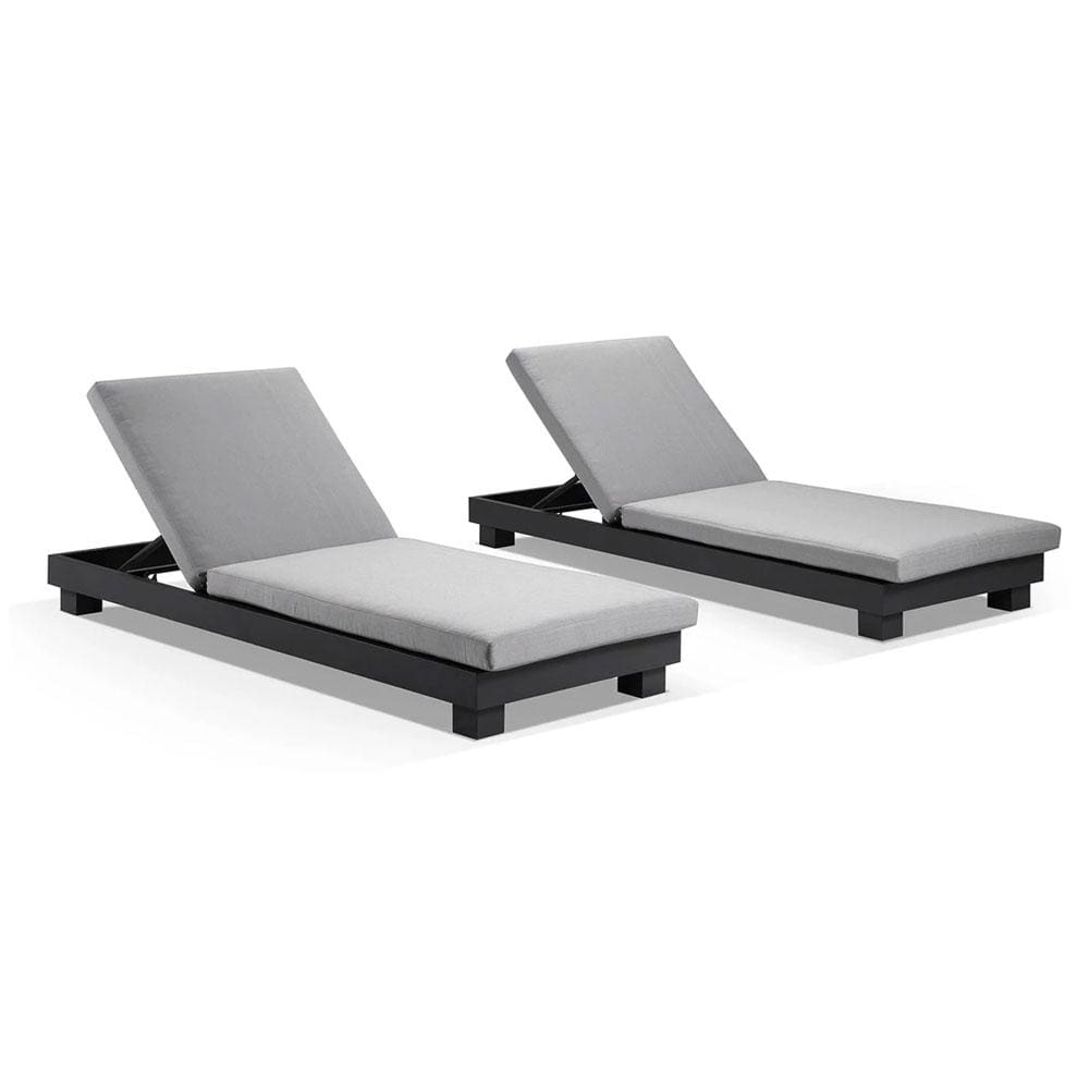 Santorini Aluminium Sun Lounge Set in Charcoal