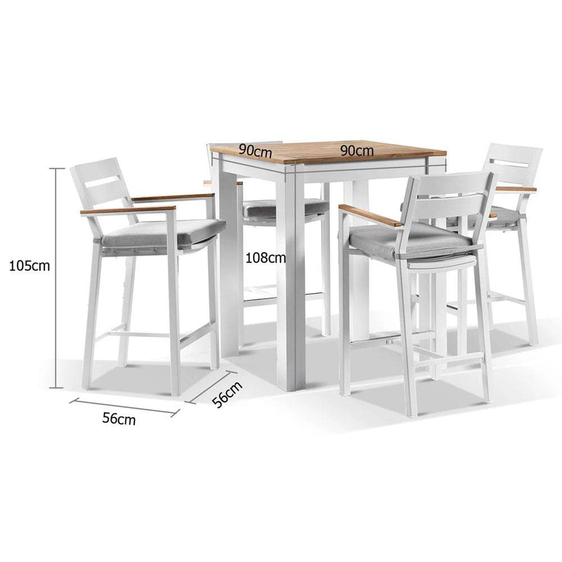 Balmoral 4 Seater Square Aluminium Bar Table with 4 Capri Bar stools