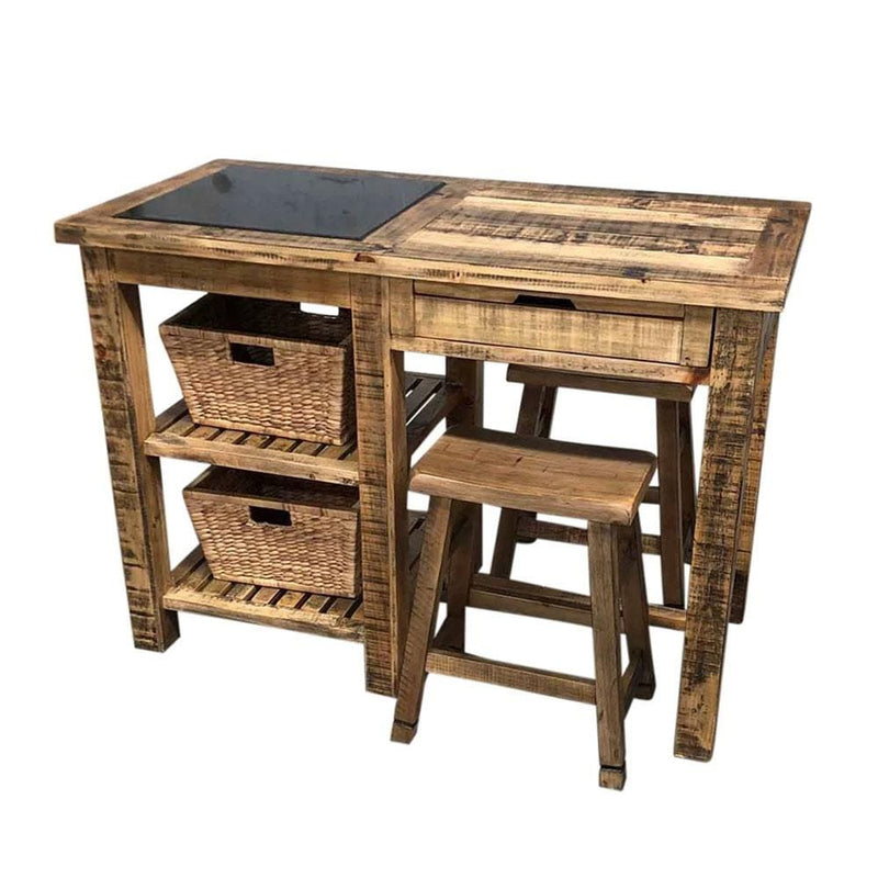 Rustic Kitchen Island Bench with Shelves & Stools