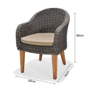 Solomon Outdoor Wicker & Teak Dining Chair