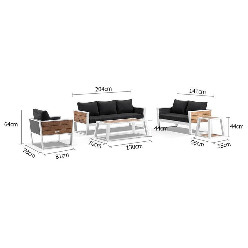 Corfu 3+2+1 Aluminium and Teak Timber Lounge with Coffee Table & Side Table