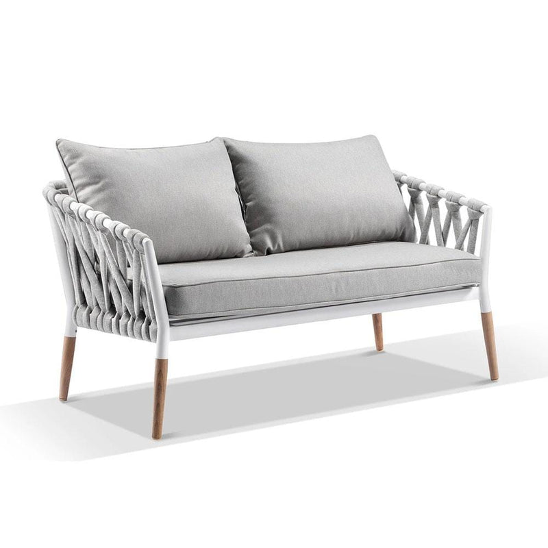 Silas Outdoor Ivory Rope Lounge Setting with Coffee Table