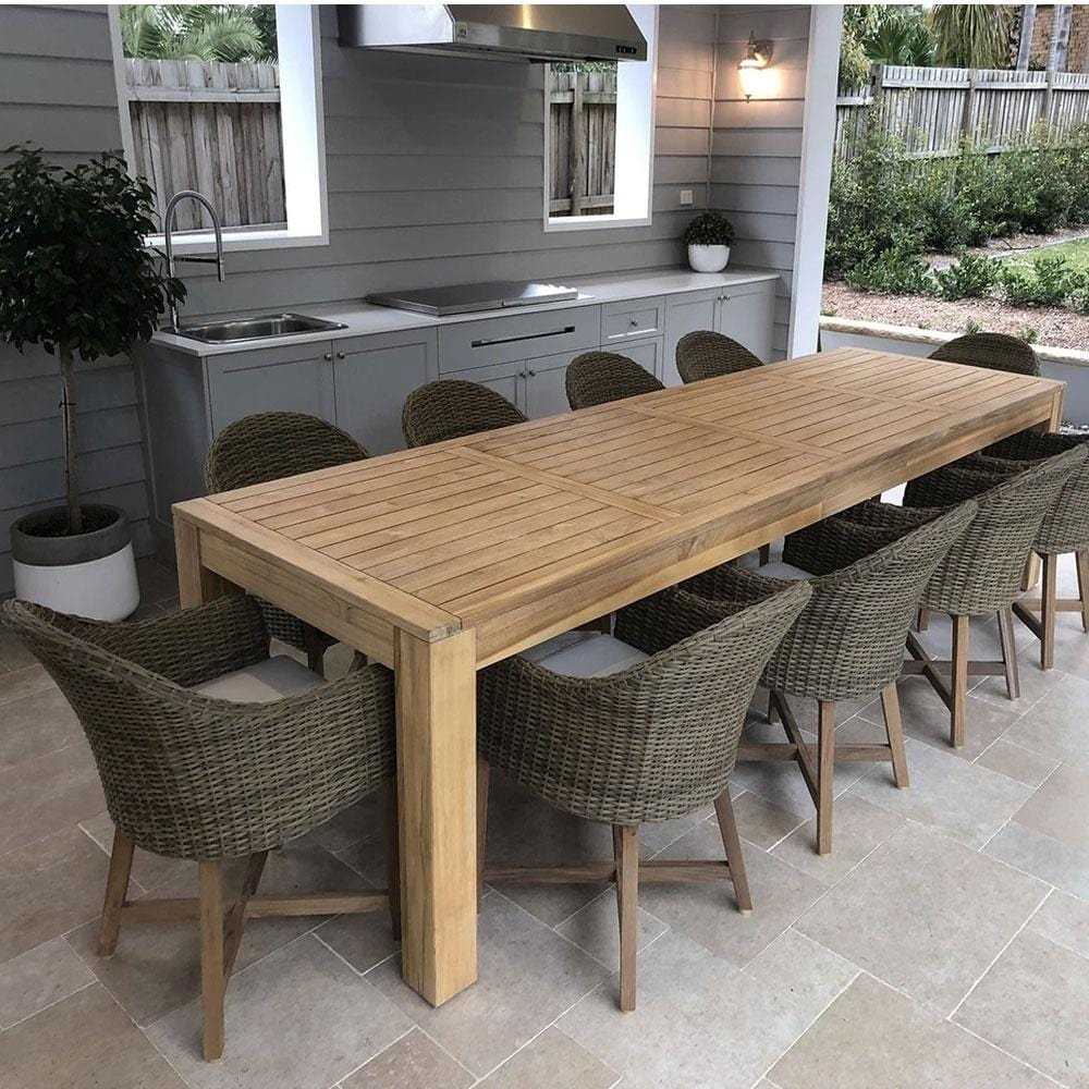Entertainer 3.3m 10 Seat Teak Outdoor Table with 10 Coastal Wicker Dining Chairs