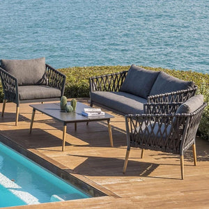 Silas Outdoor Charcoal Rope Lounge Setting with Coffee Table