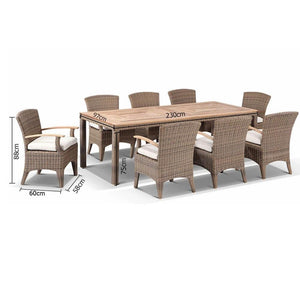 Sahara 8 Rectangle with Kai chairs in Half Round wicker