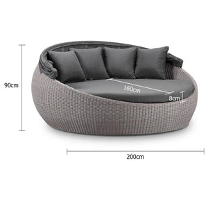 Large Newport Outdoor Wicker Round Daybed w/ Canopy - Brushed Grey with Sunbrella