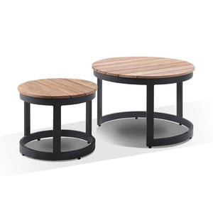 Malibu 2+1+1 with Round Industrial Teak Top Coffee Table Set
