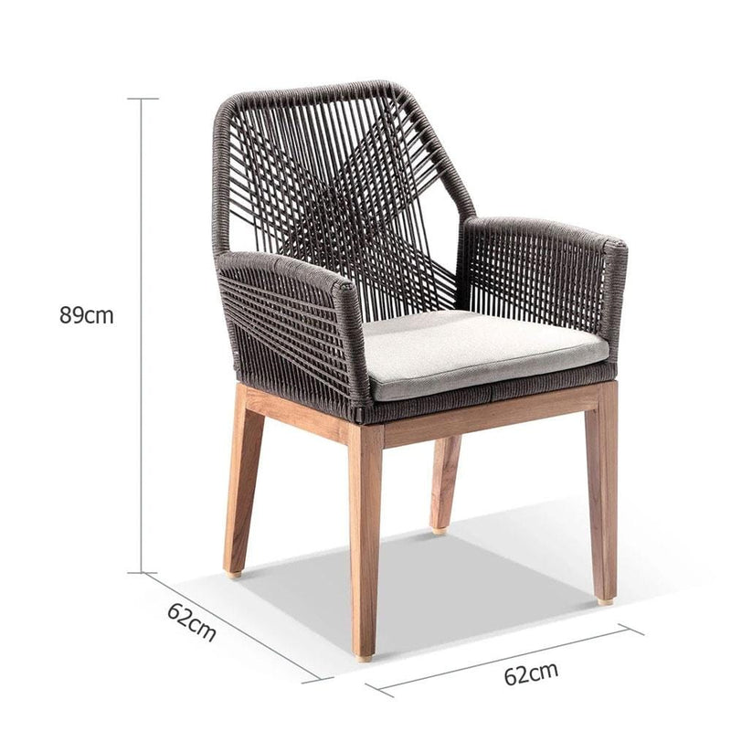 Darcey Outdoor Teak and Rope Dining Chair