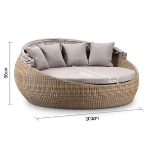 Large Newport Outdoor Wicker Round Daybed w/ Canopy - Brushed Wheat with Sunbrella