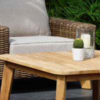 Bahamas Outdoor 3+1+1 Wicker & Teak Lifestyle Garden Lounge Suite with Coffee Table