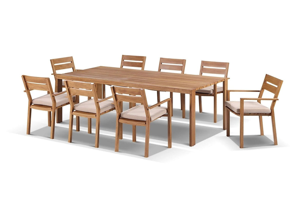 Capri 9 Pcs Dining Setting  in Teak Timber Look Finish