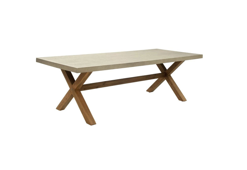 Rhodes 2.4m Poly Cement Dining Table with Bench Seats