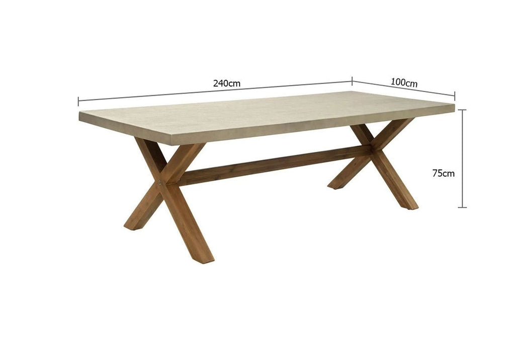 Rhodes 2.4m Poly Cement Dining Table
