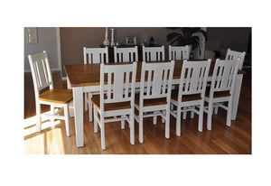 Two Tone Leura 10 Seat - 11pc Shabby Chic Timber Dining Setting In Distressed White With Honey Timber Top