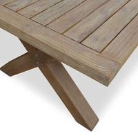 Tahitian Solid Teak 2.1m Outdoor Table - With Plantation Rattan Chairs