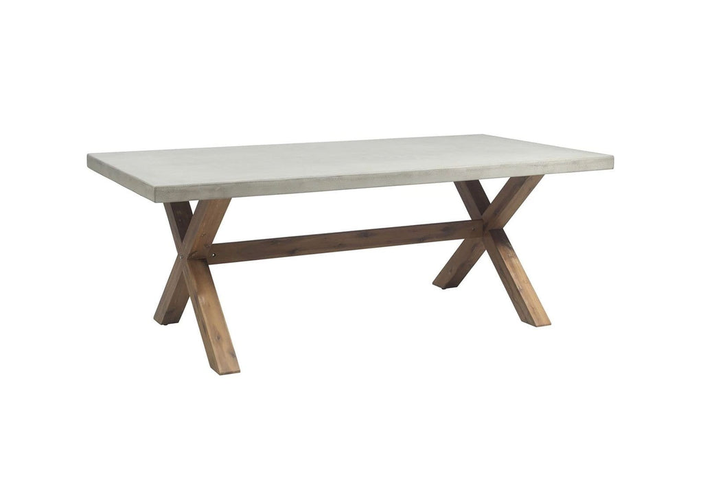 Rhodes 2m Poly Cement Dining Table with Timber Legs