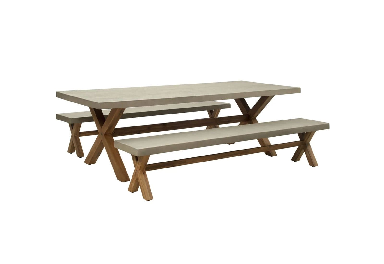 Picture of: Rhodes 2 4m Poly Cement Dining Table With Bench Seats