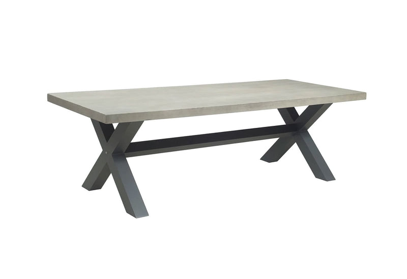 New York Industrial 2.4m LIGHT GREY OUTDOOR POLY-CEMENT DINING TABLE