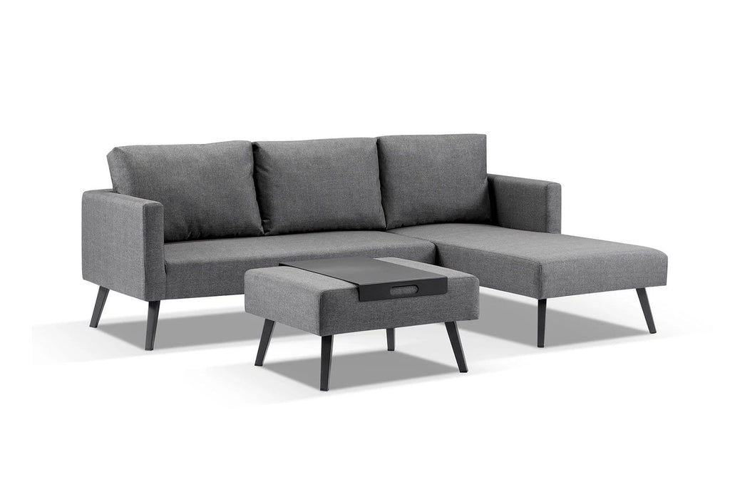 Austin Outdoor Grey Fabric Modular Chaise Lounge with Ottoman Coffee Table
