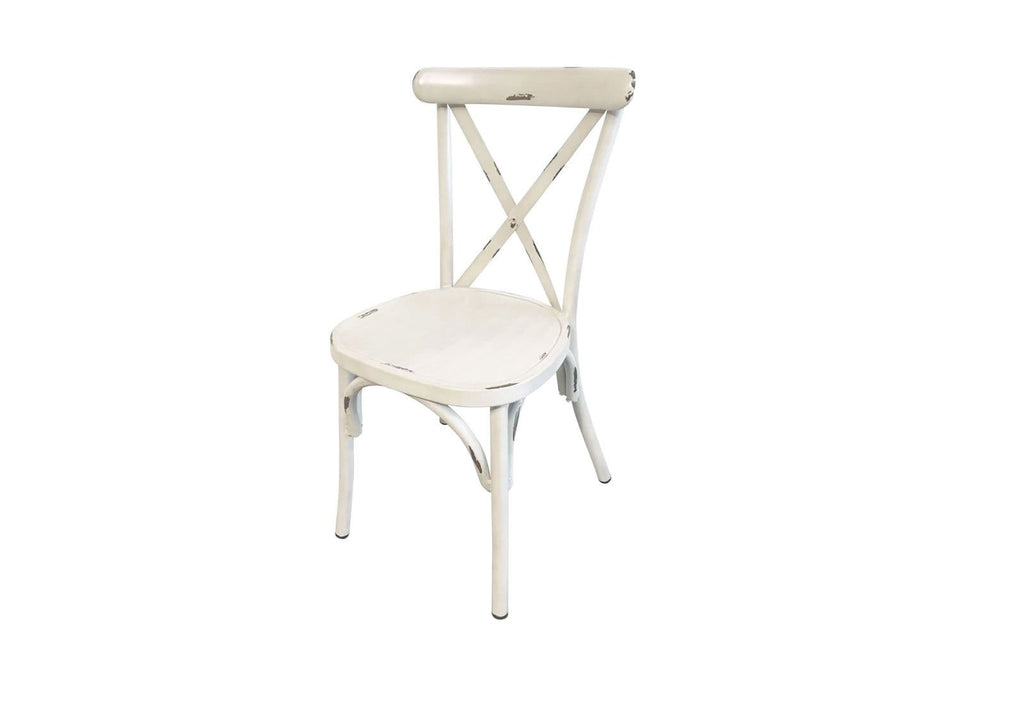 Outdoor Stackable Vintage Cross Back Chair in Antique Creme