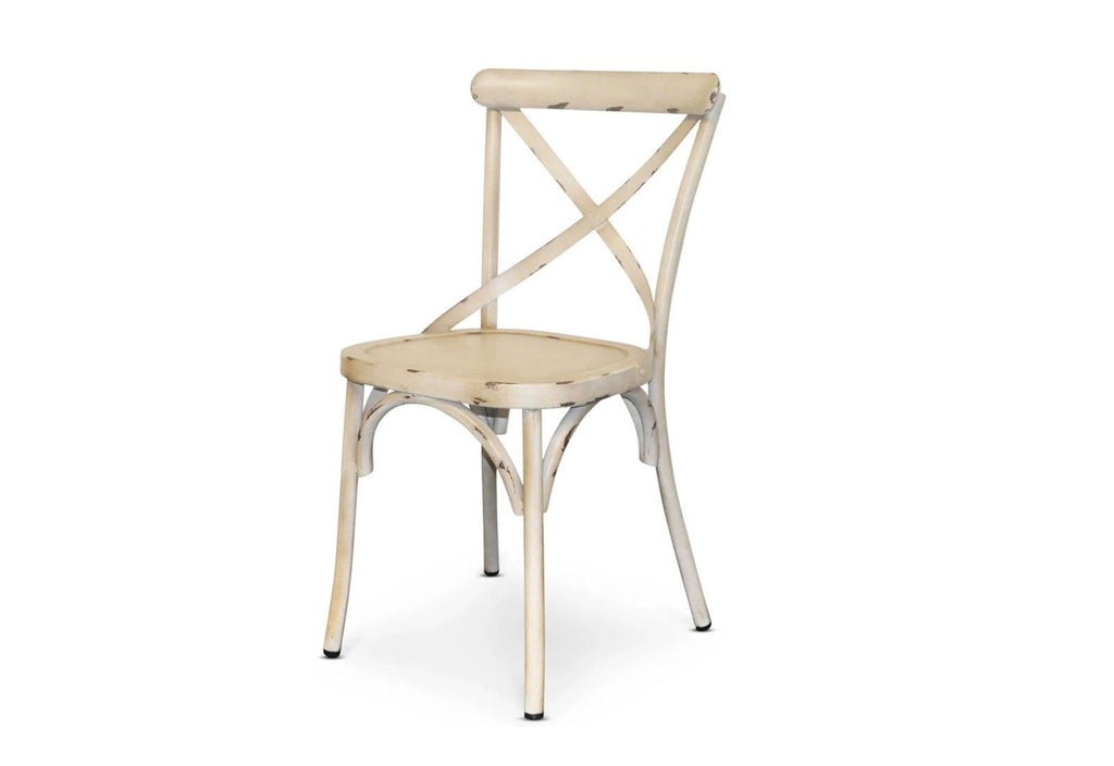 Outdoor Vintage Cross Back Chair in Antique Creme