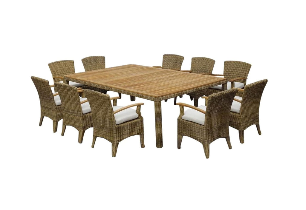 Kai 10 Seat Raw Natural Teak Outdoor Table with Half Round Wicker 11Pc Set