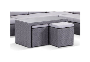 Wicker Coffee Table - With Stow Away Ottomans