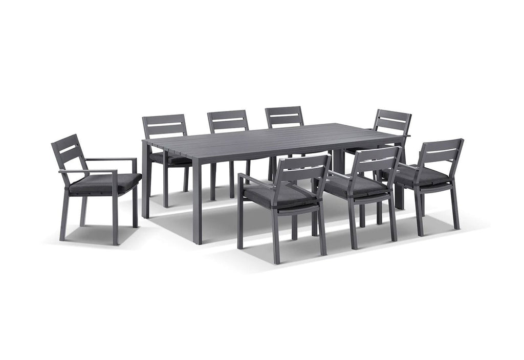 Capri 9 Pcs Dining Setting in Charcoal