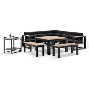 Balmoral Outdoor Aluminium Lounge and Dining Setting with Bar Cart