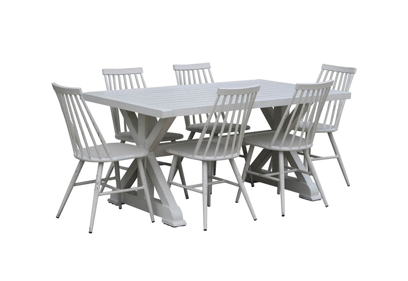 Torquay 1.6m Aluminium Outdoor Table with 6 Windsor Dining Chairs