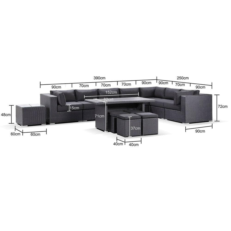 Big Kahuna 13 Piece setting with Dining coffee table & 4 Ottoman
