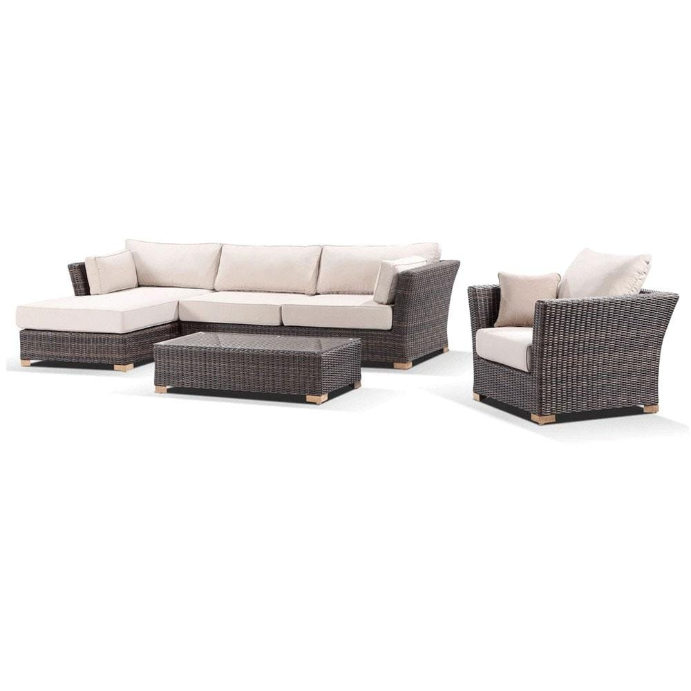 Coco Lounge - Corner Chaise Lounge With Arm Chair in Rattan Wicker
