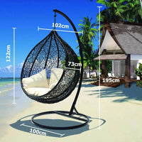 Bahama Outdoor Wicker Hanging Egg Chair with Stand