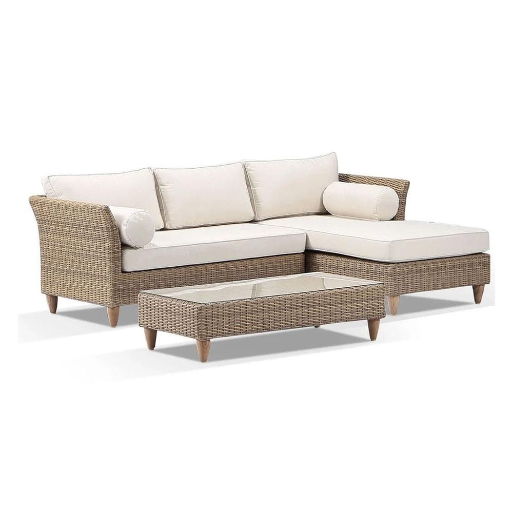 Carolina Outdoor Chaise Lounge with Arm Chair & Coffee Table