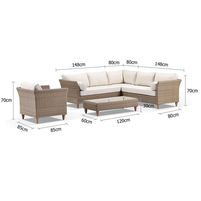 Carolina Outdoor Corner Lounge with Arm Chair & Coffee Table