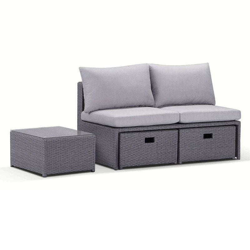 Love Seat - Modular Compact Balcony Setting in Brushed Wicker